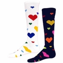 Multi-Color Heart  Knee High Socks - in White or Black
