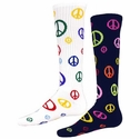 Multi-Color Peace Sign Knee High Socks - in White or Black