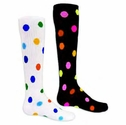 Multi-Color Polka Dots Knee High Socks - in White or Black