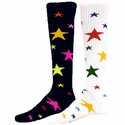 Multi-Color Stars Knee High Socks - in Black or White