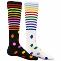 Multi-Color Stripes & Dots Knee High Socks - in Black or White