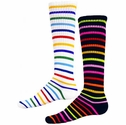Multi-Color Stripes Knee High Socks - in White or Black