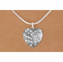 Multi-Crystal Heart Shaped Volleyball Charm Necklace