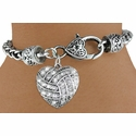 Multi-Crystal Volleyball Antique Heart Charm Bracelet
