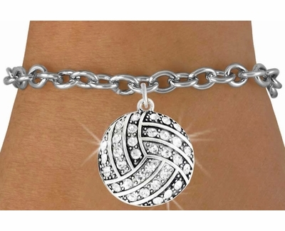 Multi-Crystal Volleyball Charm Bracelet