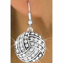 Multi-Crystal Volleyball Charm Fishhook Earrings
