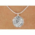 Multi-Crystal Volleyball Charm Necklace