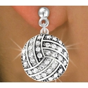 Multi-Crystal Volleyball Charm Post Earrings