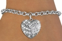 Multi-Crystal Volleyball Heart Shaped Charm Bracelet
