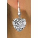 Multi-Crystal Volleyball Heart Shaped Charm Fishhook Earrings