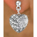Multi-Crystal Volleyball Heart Shaped Charm Hanging Post Earrings