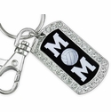 Multi-Crystal Volleyball Mom Silver Keychain