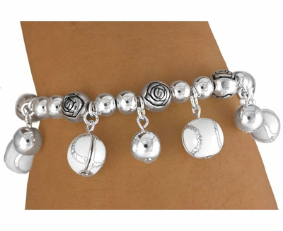 Multi-Softball / Baseball Charm Stretch Bracelet