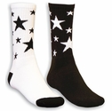 Multi-Star Crew Socks - in White & Black