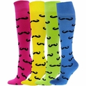 Mustache Knee High Socks - 11 Color Options