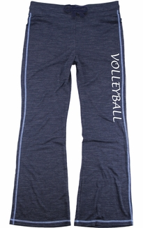 Navy Blue Ladies French Terry Pants with Volleyball Print on Leg