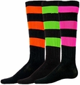 Neon Big Stripe Knee High Socks - 4 Color Options