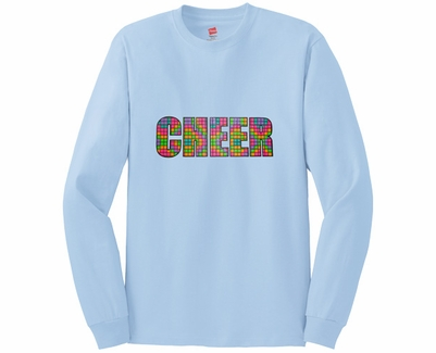 Neon Block Cheer Design Long Sleeve Shirt - in 20 Shirt Colors