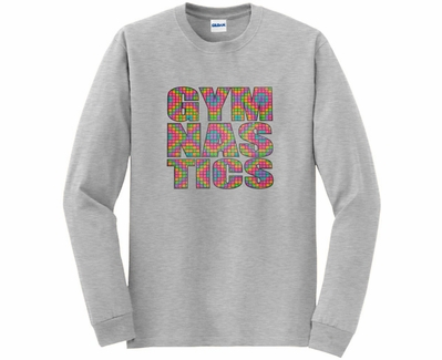 Neon Block Gymnastics Design Long Sleeve Shirt - in 20 Shirt Colors