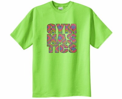 Neon Block Gymnastics Design Short Sleeve T-Shirt - in 22 Shirt Colors