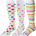 Neon Dots, Stars, & Stripes White Knee High KraziSox - 3 Color Options