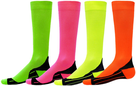 9bdd6c5bfc2 Colorful Neon Glide Knee High Athletic Sport Compression Socks in 4 ...