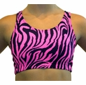 Neon Hot Pink Tiger Stripe Sports Bras