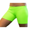 "Neon Lime Green 4"" inseam Spandex Shorts"