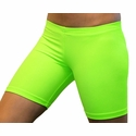 "Neon Lime Green 6"" inseam Spandex Shorts"