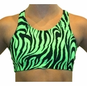Neon Lime Green Tiger Stripe Sports Bras