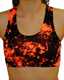 Black with Neon Orange Paint Splatter Pattern Athletic Sports Bra ...