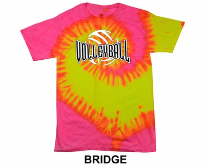 Neon Pink & Yellow Tie-Dye T-shirt - in 6 Volleyball Designs