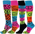 Neon Rainbow Striped Knee High Socks - in 4 Pattern Options