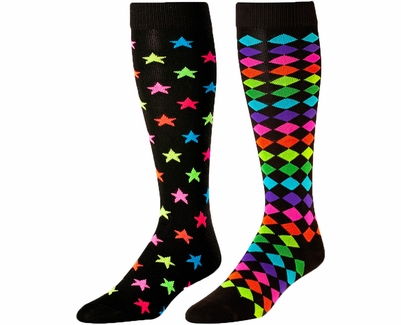 Neon Stars & Neon Diamonds Black Knee High KraziSox - 2 Color Options