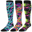 Neon Kaleidoscope, Swirls & Splatter Over-Calf KraziSox - 3 Options