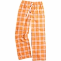 Orange & White Plaid Flannel Lounge Pants - Choice of 22 Sports on Leg or Rear