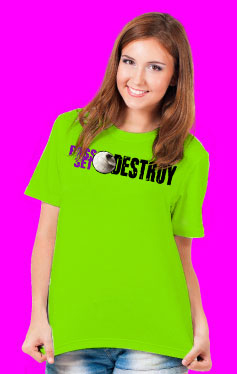 Pass Set Destroy Volleyball Design Lime Green T-Shirt