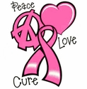 Peace Love Cure Pink Ribbon Awareness T-Shirt - in 22 Shirt Colors
