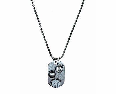 Peace, Love & Happiness Volleyball Dog-Tag Necklace
