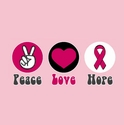 Peace Love Hope Ribbon Awareness T-Shirt - in 22 Shirt Colors