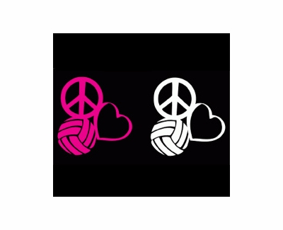 Peace, Love & Volleyball Window Decal - in 2 Colors