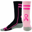 Performance Pink Ribbon Apex Crew Socks - 2 Color Options