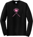 Pink Heart & Pink Ribbon Awareness Long Sleeve Shirt - in 18 Shirt Colors