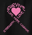 Pink Heart & Pink Ribbon Awareness T-Shirt - in 22 Shirt Colors