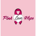 Pink Love Hope Pink Ribbon Heart T-Shirt - in 22 Shirt Colors