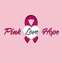 Pink Love Hope Pink Ribbon Heart T-Shirt - in 27 Shirt Colors
