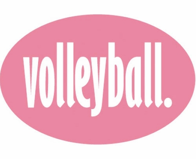 Pink & White Volleyball Word Oval Decal