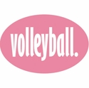 Pink & White Volleyball Word Oval Magnets
