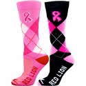 Pink Ribbon Argyle Crew Socks - 2 Color Options