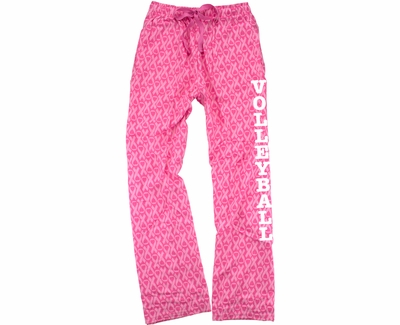 Pink w/ Pink Ribbons Awareness Flannel Pants - Choice of 22 Sports on Leg or Rear